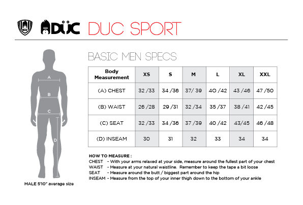 DUC Mens Tennis Apparel Size Chart