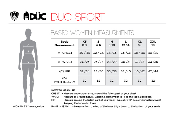 DUC Women's Tennis Apparel Size Chart