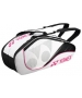 Yonex Tournament Active 6-Pack Racquet Bag (White/Pink/Black) - 6 Racquet Tennis Bags