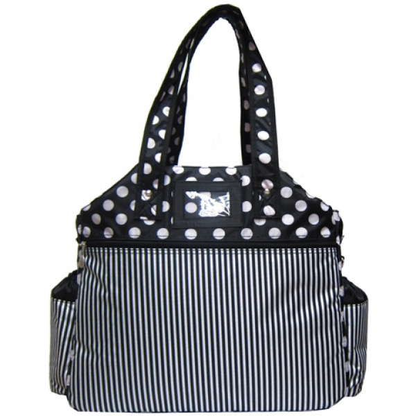 Jet Black & White Polka Dot Stripes Tennis Tote Bag