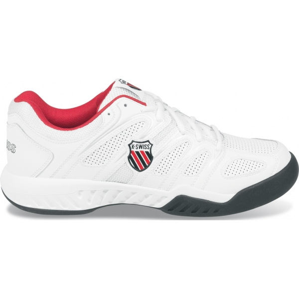 K-Swiss Men's Calabasas Tennis Shoe (Wht/ Blk/ Red)