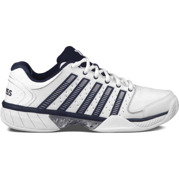 K-Swiss Men's Hypercourt Express Leather Tennis Shoes (White/ Navy)
