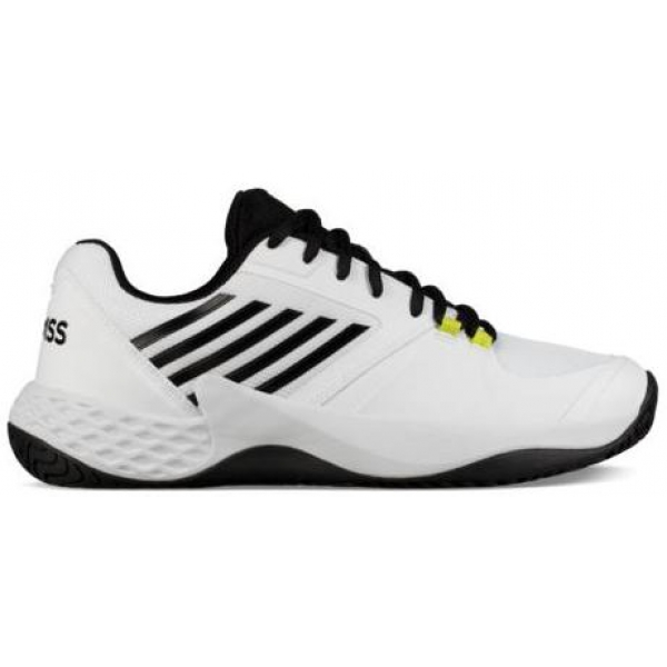 K-Swiss Men's Aero Court Tennis Shoes (White/Black/Neon Yellow)