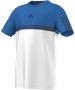 Adidas Boys Barricade Tee (White/ Blue/ Dark Blue) - Boy's Tennis Apparel