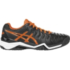 Asics Men's Gel Resolution 7 Tennis Shoes (Black/Orange/White) - Asics Gel-Resolution Tennis Shoes