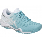 Asics Women's Gel Resolution 7 Tennis Shoes (Porcelain Blue/Silver/White) - Asics