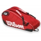Wilson Federer Team III 6 Pack Tennis Bag (Red/ Black/ White) - Federer