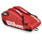Wilson Federer Team III 12 Pack Tennis Bag (Red/ Blk Wht) - 7 Racquet Tennis Bags