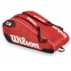 Wilson Federer Team III 12 Pack Tennis Bag (Red/ Blk Wht) - Federer