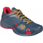 Wilson Womens 100 Year Rush Pro Tennis Shoes (Grey/ Red) - Wilson Rush Tennis Shoes