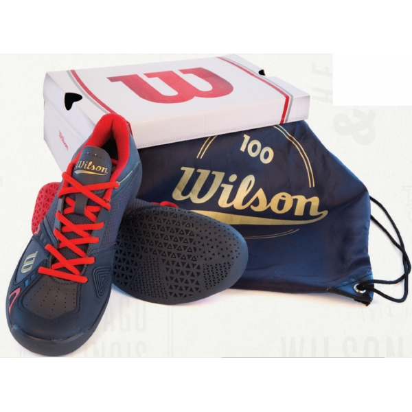 Wilson Womens 100 Year Rush Pro Tennis Shoes (Grey/ Red)