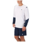 K-Swiss Men's Long Sleeve Tennis Crew (White/Insignia Blue) - Tennis Gift Ideas - Performance Racquets, Bags, Shoes and Apparel