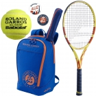 Babolat Roland Garros Pure Aero Racquet Pack w/ Backpack + Dampeners + RG All Court Balls - Babolat Roland Garros Tennis Racquets, Bags and Accessories