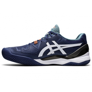 ASICS Men's Gel-Resolution 8 Clay Court Tennis Shoes (Mako Blue/White)