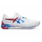 Asics Men's Gel Resolution 8 Tennis Shoes (White/Electric Blue) - Asics