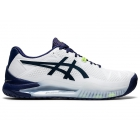 ASICS Men's Gel-Resolution 8 Wide Tennis Shoes (White/Peacoat) - Asics Gel-Resolution Tennis Shoes