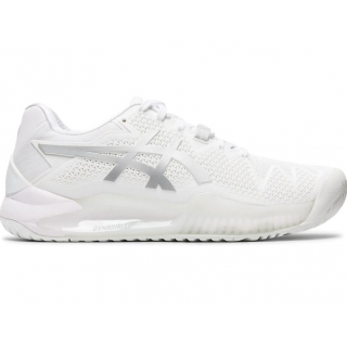Asics Women's Gel Resolution 8 Tennis Shoes (White/Pure Silver)