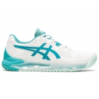 ASICS Women's Gel-Resolution 8 Tennis Shoes (White/Lagoon)  - Asics Gel-Resolution Tennis Shoes