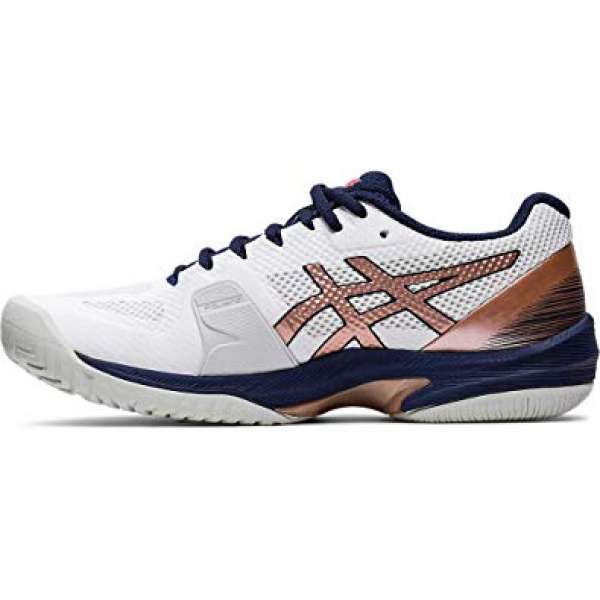 Asics Women's Solution Speed FF Tennis Shoes (White/Rose Gold)
