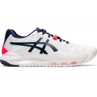 Asics Women's Gel Resolution 8 WIDE Tennis Shoes (White/Peacoat) -