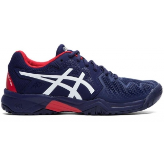 Asics Junior Gel Resolution 8 GS Tennis Shoes (Peacoat/Classic Red)