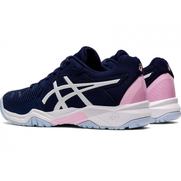Asics Junior Gel Resolution 8 GS Tennis Shoes (Peacoat/Cotton Candy)