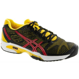 Asics Men's GEL-Solution Speed 2 Tennis Shoes (Black/ Yellow/ Red)