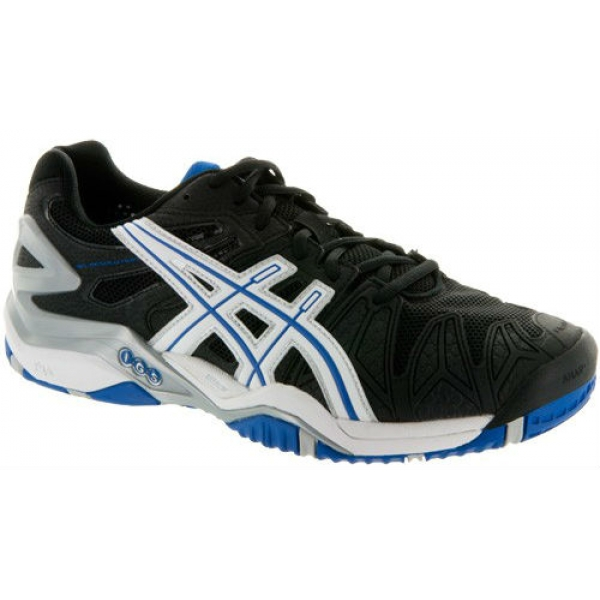 Asics Men's Gel Resolution 5 Shoes (Black/ White/ Blue)
