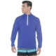 BloqUV Men's UV Protection Mock Zip Long Sleeve Shirt (Twilight Blue) - Discount Tennis Apparel