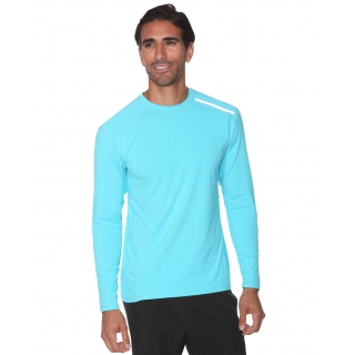 BloqUV Men's Long-Sleeve Sun Protective Jet Tee (Light Turquoise)