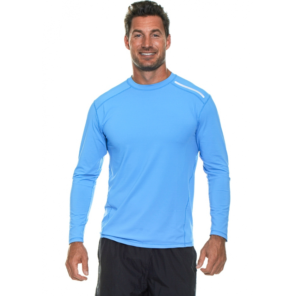 Bloq-UV Men's Long-Sleeve Sun Protective Jet Tee (Ocean Blue)