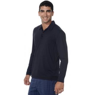 BloqUV Men's UPF 50+ Long-Sleeve Collared Shirt (Black)