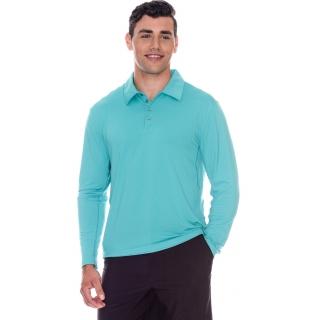 BloqUV Men's UPF 50+ Long-Sleeve Collared Shirt (Caribbean Blue)