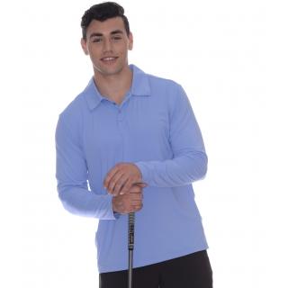 BloqUV Men's UPF 50+ Long-Sleeve Collared Shirt (Indigo)