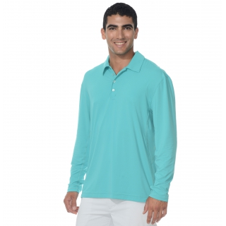 BloqUV Men's UPF 50+ Long-Sleeve Collared Shirt (Light Turquoise)
