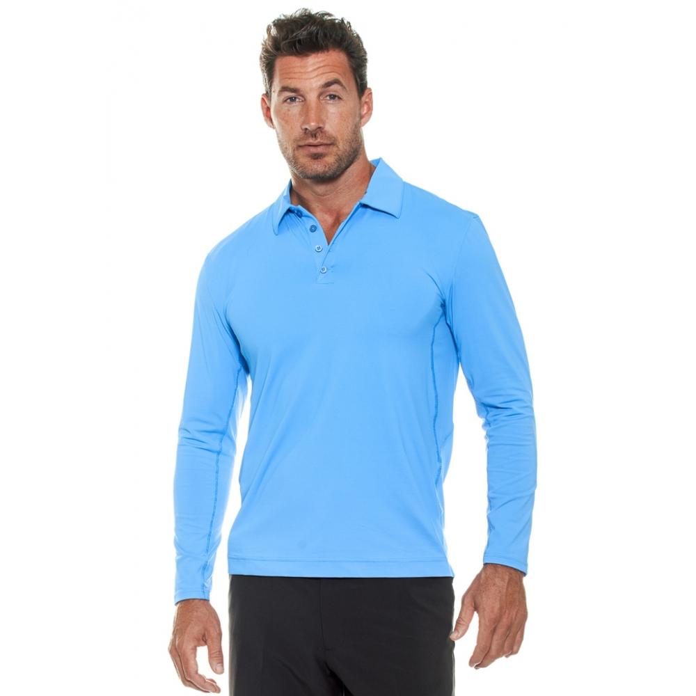 BloqUV Men's UPF 50+ Long-Sleeve Collared Shirt (Ocean Blue)