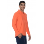 BloqUV Men's UPF 50+ Long-Sleeve Collared Shirt (Orange) - Bloq-UV