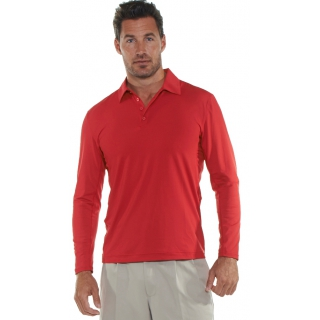 BloqUV Men's UPF 50+ Long-Sleeve Collared Shirt (Red)