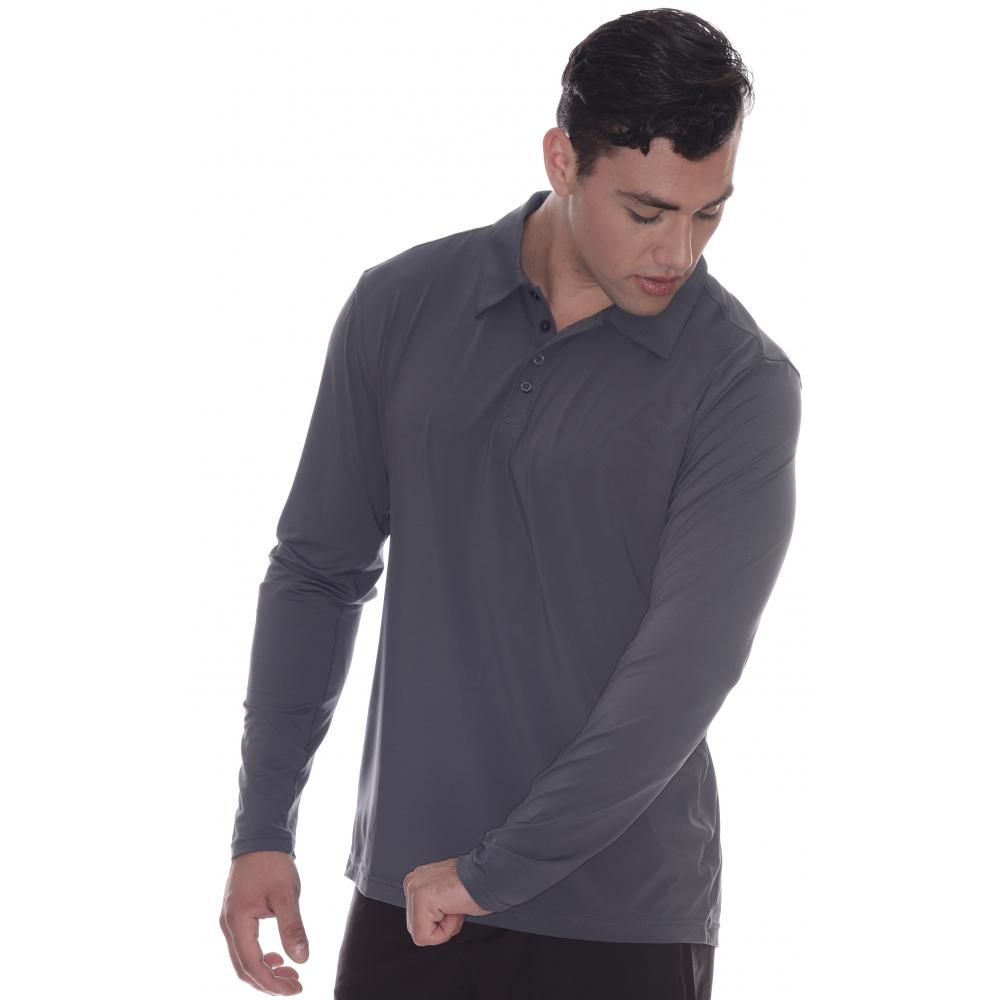 BloqUV Men's UPF 50+ Long-Sleeve Collared Shirt (Smoke)