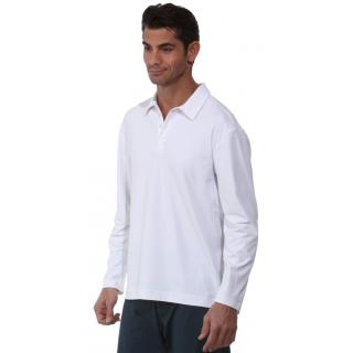 BloqUV Men's UPF 50+ Long-Sleeve Collared Shirt (White)