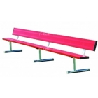 15' Permanent Bench w/ Back (Assorted Colors) - Tennis Benches 7.5+ Feet