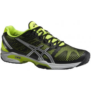 6f210d7539f1 Asics Men s GEL-Solution Speed 2 Tennis Shoes (Onyx  Flash Yellow  Silver)