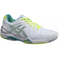 Asics Women's Gel Resolution 6 Shoes (White/ Emerald Green/ Silver)