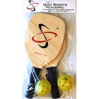 Onix Two Ace-2 Wood Paddles With Two Balls Starter Set - Sports Equipment