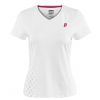Prince Women's V-Neck Tee (White/ Berry) - Prince Tennis Apparel