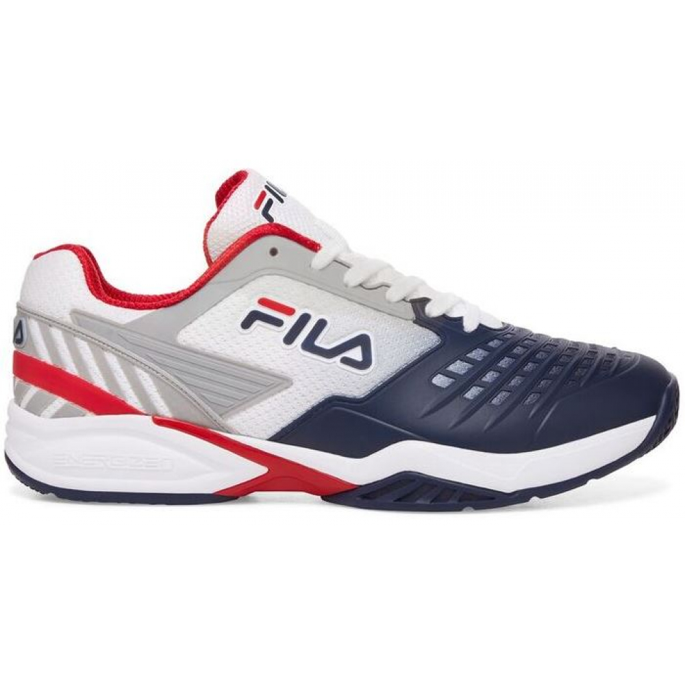 Fila Men's Axilus 2 Energized Tennis Shoes (White/Navy/Fila Red)