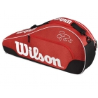 Wilson Federer Team III Triple Tennis Bag (Red/ Black/ White) - Wilson