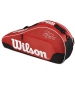Wilson Federer Team III Triple Tennis Bag (Red/ Black/ White) - Wilson Tennis Bags