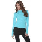 Bloq-UV 24/7 Long Sleeve Top (Light Turquoise) - Women's Outerwear Warm-Ups Tennis Apparel
