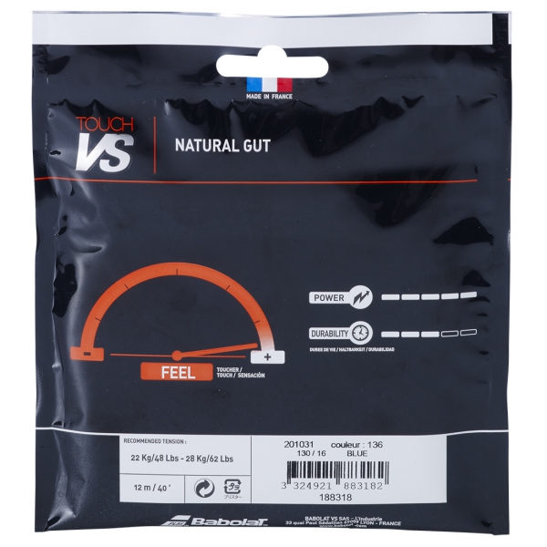 Babolat VS Touch Blue 16g Natural Gut Tennis String (Set)